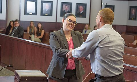 Volunteer Attorney and Client in Court